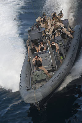 Sailors Operate A Rigid-hull Inflatable Poster