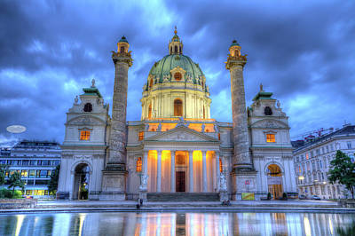 Saint Charles's Church At Karlsplatz In Vienna, Austria, Hdr Poster