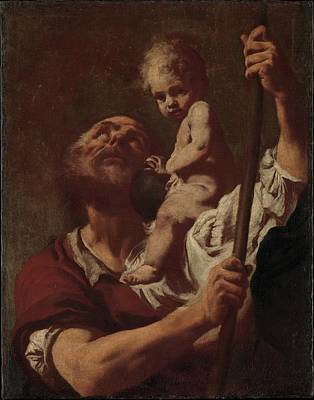 Saint Christopher Carrying The Infant Christ Poster