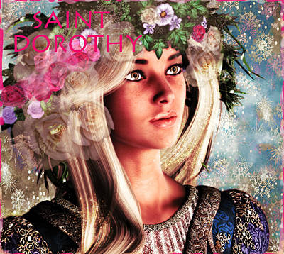 Poster featuring the painting Saint Dorothy Of Caesarea Winter Vision by Suzanne Silvir