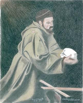Saint Francis In Meditation Caravaggio Poster