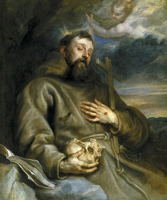 Saint Francis Of Assisi In Ecstasy Poster by Anthony van Dyck