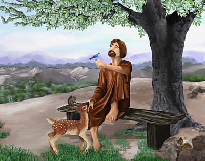 Poster featuring the painting Saint Francis by Susan Kinney