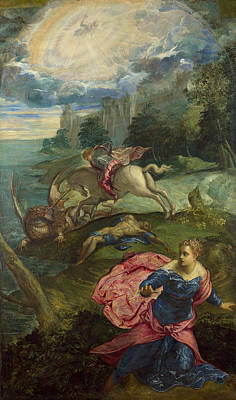 Saint George And The Dragon Poster by Tintoretto
