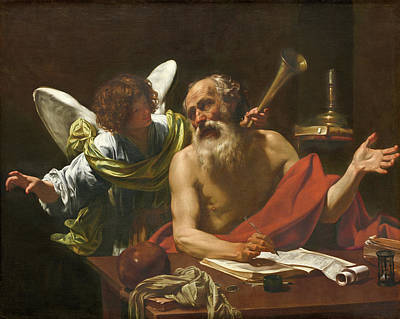 Saint Jerome And The Angel Poster by Simon Vouet