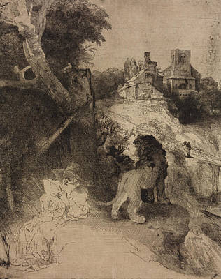 Saint Jerome In An Italian Landscape Poster by Rembrandt