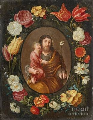 Saint Joseph And The Christ Child Poster by MotionAge Designs