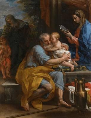 Saint Joseph Embracing The Christ Child Poster by Carlo Maratta