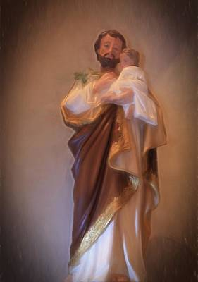 Saint Joseph Holding Baby Jesus Poster by Donna Kennedy