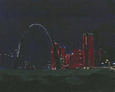 Saint Louis Skyline Poster by Joseph A Langley
