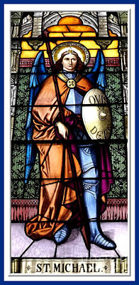 Poster featuring the photograph Saint Michael The Archangel Stained Glass Window by Rose Santuci-Sofranko