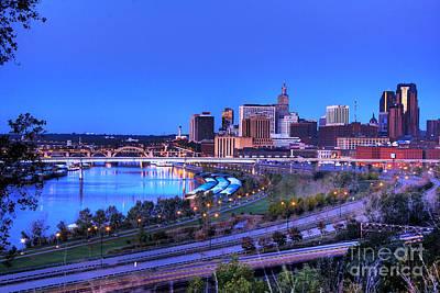 Saint Paul Minnesota Skyline Blue Morning Light Poster