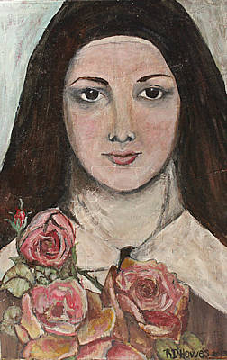 Saint Therese With Roses Poster by Robin Dudley howes