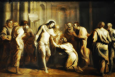 Saint Thomas Touching Christ's Wounds Poster by Bill Cannon
