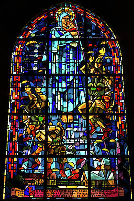Sainte-mere-eglise Paratrooper Tribute Stained Glass Window Poster by John Daly