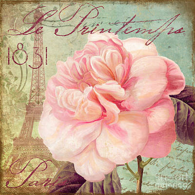 Saisons Pink Peony Rose Poster by Mindy Sommers