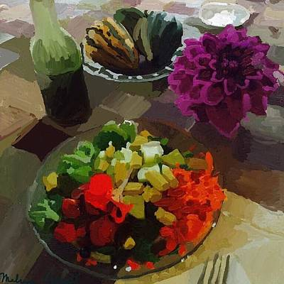 Salad And Dressing With Squash And Purple Dahlia Poster