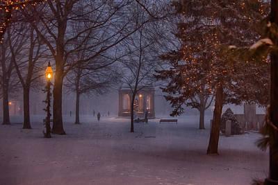Salem Bandstand As Snow Falls Poster by Jeff Folger