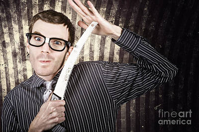 Sales Man Cutting Prices With Pruning Saw Poster by Jorgo Photography - Wall Art Gallery