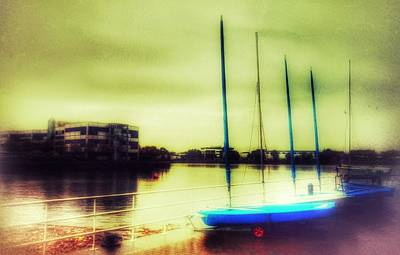 Poster featuring the photograph Salford Quays Boats Waiting by Isabella F Abbie Shores FRSA