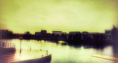Poster featuring the photograph Salford Quays Promenade by Isabella F Abbie Shores FRSA