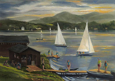 Sailing At Lake Morey Vermont Poster by Nancy Griswold