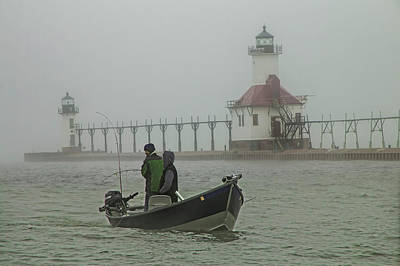 Salmon Fishermen In The Fog By The St. Joseph Lighthouse Poster by Randall Nyhof