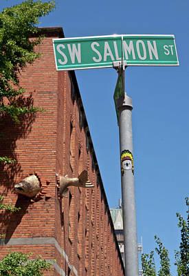 Salmon Through A Building Poster