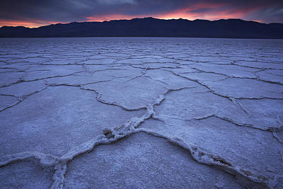 Salt Flats At Badwater Basin Poster by Michael Melford