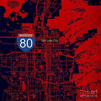 Salt Lake City Map, Nterstate 80 Poster