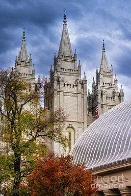 Salt Lake Lds Temple And Tabernacle - Utah Poster by Gary Whitton