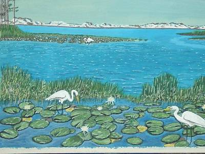Poster featuring the painting Salt Marsh Egrets by Hilda and Jose Garrancho