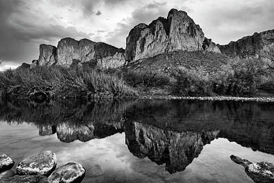 Poster featuring the photograph Salt River Reflections In Black And White by Dave Dilli