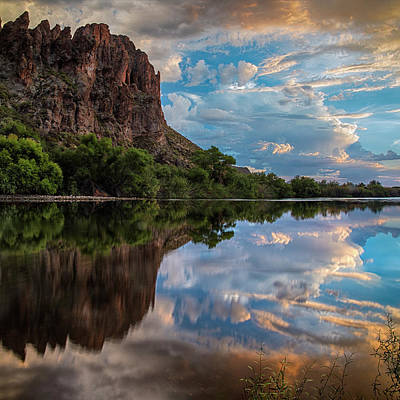 Poster featuring the photograph Salt River Sunset Reflections by Dave Dilli