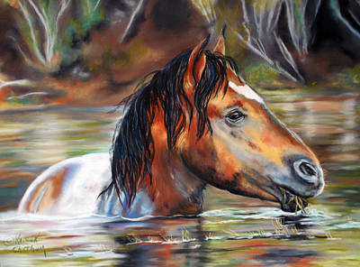 Poster featuring the pastel Salt River Tango by Karen Kennedy Chatham