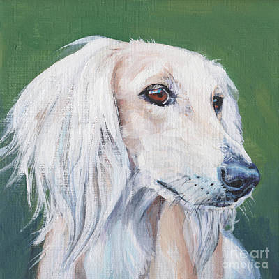 Poster featuring the painting Saluki Sighthound by Lee Ann Shepard