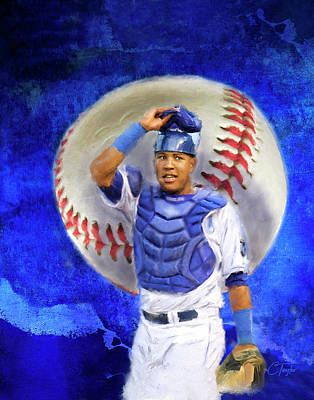 Poster featuring the mixed media Salvador Perez-kc Royals by Colleen Taylor