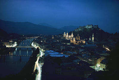 Salzburg, Austria, Night View Poster by George F. Mobley