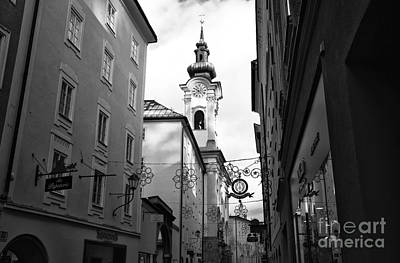 Salzburg Church Tower View Poster by John Rizzuto