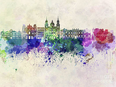 Salzburg Skyline In Watercolor Background Poster by Pablo Romero