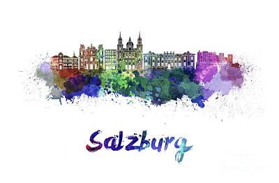 Salzburg Skyline In Watercolor Poster by Pablo Romero