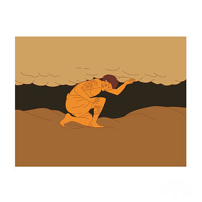 Samoan Atlas Holding Sky From Earth Drawing Poster by Aloysius Patrimonio