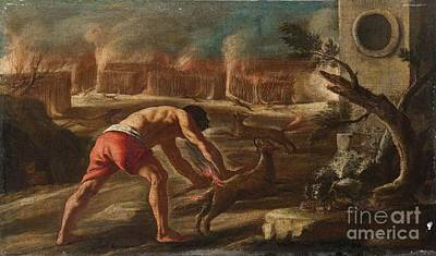 Samson Burning The Cornfields Of The Philistines Poster by Celestial Images