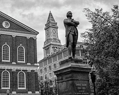 Samuel Adams Statue Fanueil Hall Boston Ma Black And White Poster by Toby McGuire