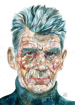 Poster featuring the painting Samuel Beckett Watercolor Portrait.10 by Fabrizio Cassetta