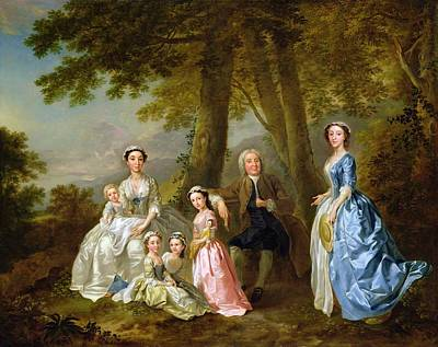 Samuel Richardson Seated With His Family Poster by Francis Hayman