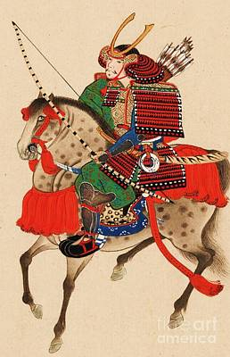 Samurai On Horseback Poster by Pg Reproductions