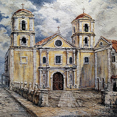 Poster featuring the painting San Agustin Church 1800s by Joey Agbayani