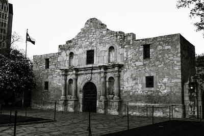 Poster featuring the photograph San Antonio Alamo In Black And White by Gregory Ballos