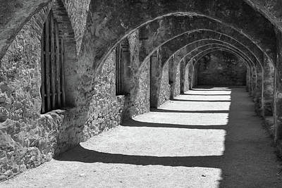 Poster featuring the photograph San Antonio Mission San Jose - Black And White by Gregory Ballos